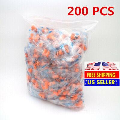 200pc Ear Plugs Lot Bulk Soft Orange Foam Sleep Travel Noise Shooting Earplugs