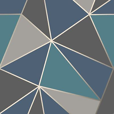 APEX GEOMETRIC WALLPAPER AQUA AND NAVY BLUE FINE DECOR FD42001 FEATURE WALL - Grey And Turquoise Bedroom