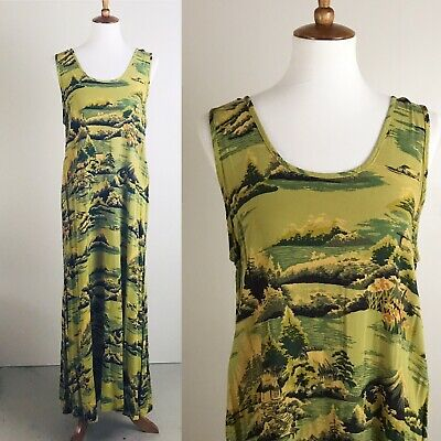 Citron Santa Monica Dress Long Maxi Hawaii Print Tank Hawaiian Green Yellow
