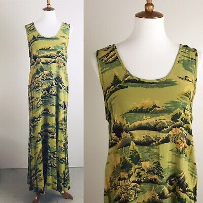 Citron Santa Monica Dress Long Maxi Hawaii Print Tank Hawaiian Green Yellow  - Green Santa Dress