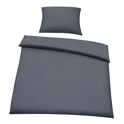 [neu.haus] Bettwäsche 155x220cm Grau + Kissenbezug Kopfkissen Bettbezug Garnitur ()