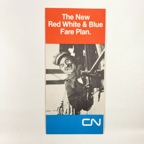 1975 Canadian National Brochure Red White & Blue Fare Plan Canada Railway