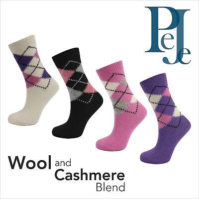 Women's Beautiful Wool / Cashmere Argyle Socks -Ella ()