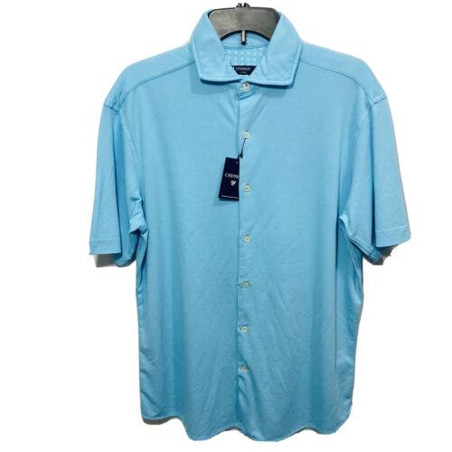 Cremieux Mens S/S Button Up Shirt Large Blue Beach Supima Soft Cotton Stretch Casual Button-Down Shirts