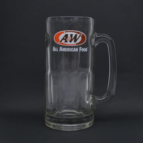 """Vintage Heavy Glass A&W Root Beer Mug  7"""" Tall All American Food"""
