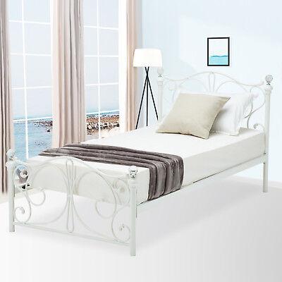 Twin Size Metal Bed Frame Finial Headboard Footboard Girls Bedroom Furniture