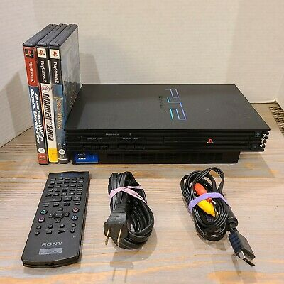 Sony Playstation 2 PS2 FAT SCPH-39001  Bundle Tested & Working - 3 Games + Cords