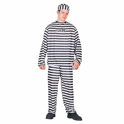 Totally Ghoul Convict Black & White Striped Men's Halloween Costume One Size  (Black And White Halloween Costumes For Men)