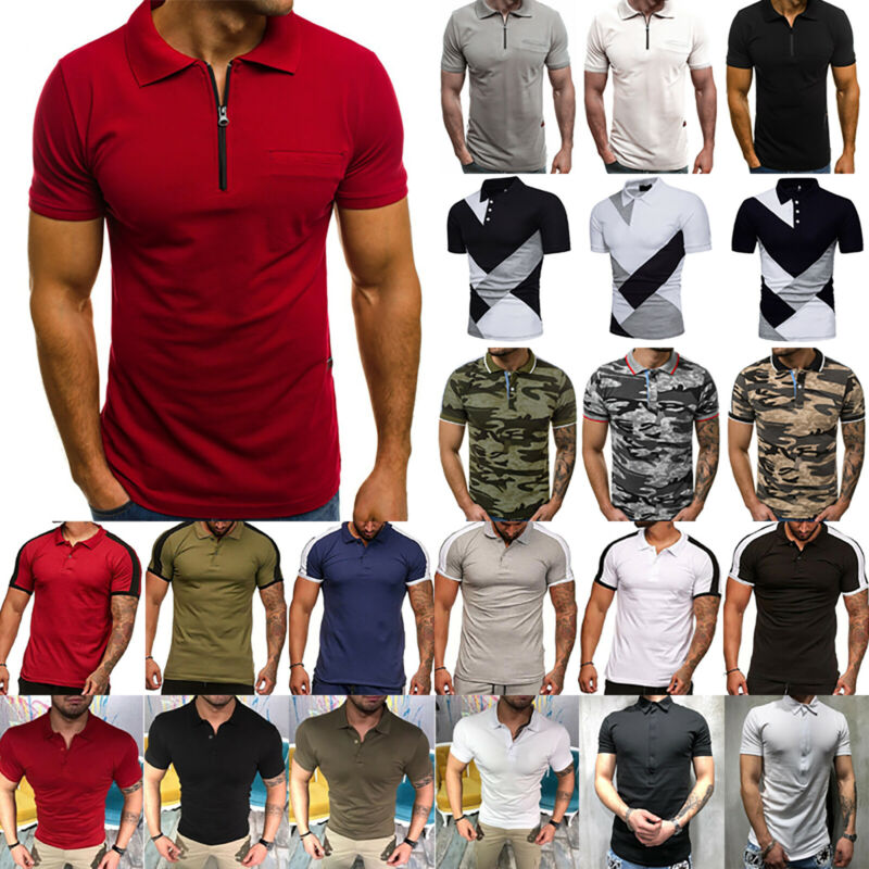 Mens Short Sleeve Polo Shirts Casual Slim Fit Golf Top Summe