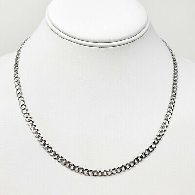 NWT 14k White Gold 10.7g Flat Curb Link 4.5mm Chain Necklace 18 Inches 14k White Gold Flat Link