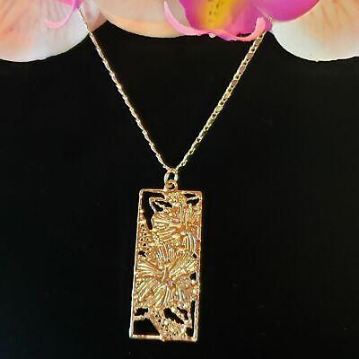 Gold Hawaiian Hibiscus Flower Pearl Pendant, Hawaiian Jewelry