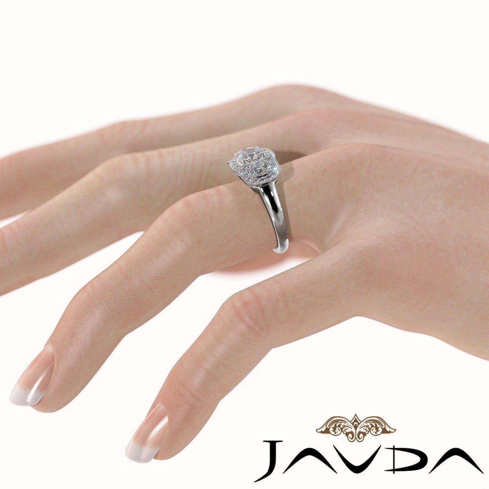 2.25ctw Milgrain Halo 3 Stone Cushion Diamond Engagement Ring GIA I-SI1 W Gold 4