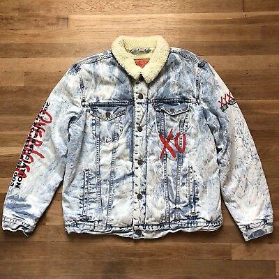 Levi's XO The Weeknd Reverie Sherpa Lined Denim Jean Trucker Jacket Men's SZ XL