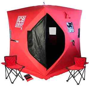 Ice Devil Portable Ice Fishing Shanty Shelter Pop Up Tent + Chairs + Anchors