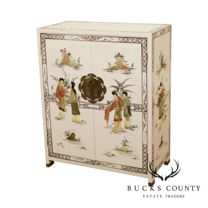 20th Century White Lacquered Chinoiserie Painted Carved Soapstone 2 Door Cabinet
