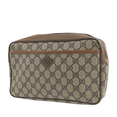 GUCCI GG Plus Clutch Pouch Brown PVC Leather Italy Vintage Authentic #PP558 O