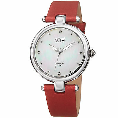Women's Burgi BUR169RD Mother of Pearl Diamond Dial Genuine Leather Strap Watch