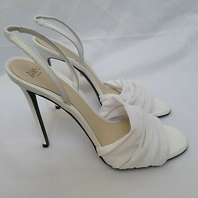 New ALEVI MILANO $750 White Mesh Netting Slingback Stiletto Sandals Italy EU 39