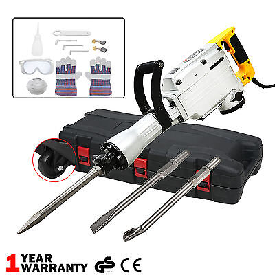 1700W Electric Demolition Hammer Drill Concrete Breaker 3 Chisels Jackhammer