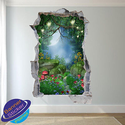 ENCHANTED FOREST FAIRY TAIL KIDS ROOM NURSERY POSTER WALL STICKER ART MURAL XK0 ()