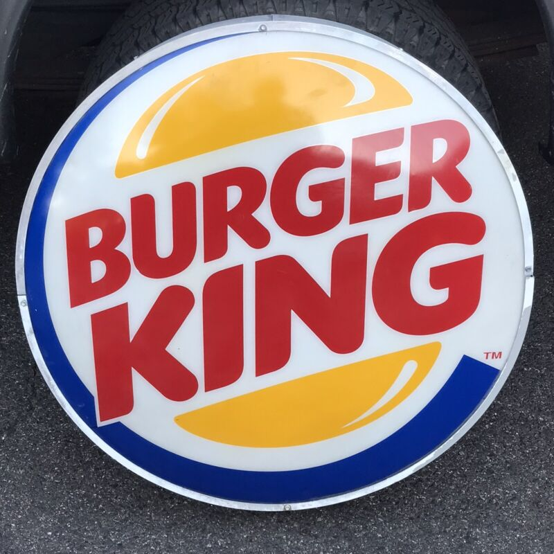 """Authentic Burger King Large Plastic button Sign 30"""" Round light box"""