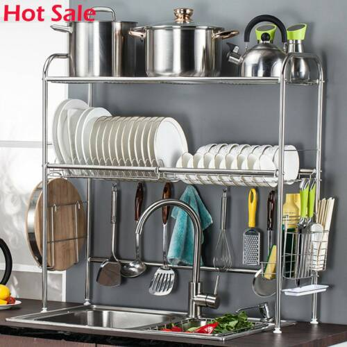 3 Tier Over The Sink Dish Drying Rack Stainless Kitchen Shel