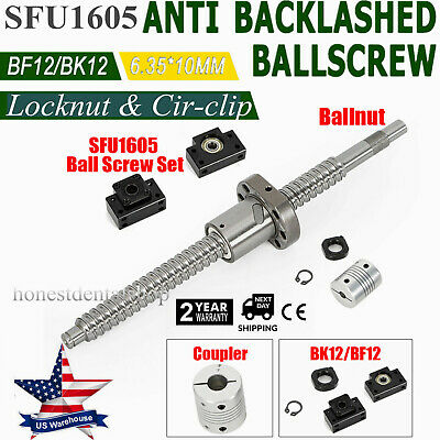 Antibacklash Ball Screw Sfu1605 L250mm-750mm Bk12 Bf12 6.35x10mm Coupler Set
