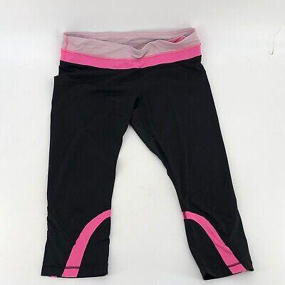 Lululemon Run Inspire Crop Black Pink Athletic Leggings Size 12