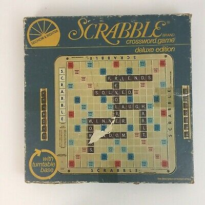 Scrabble Deluxe Edition Turntable Base Selchow & Righter Complete Crossword Game