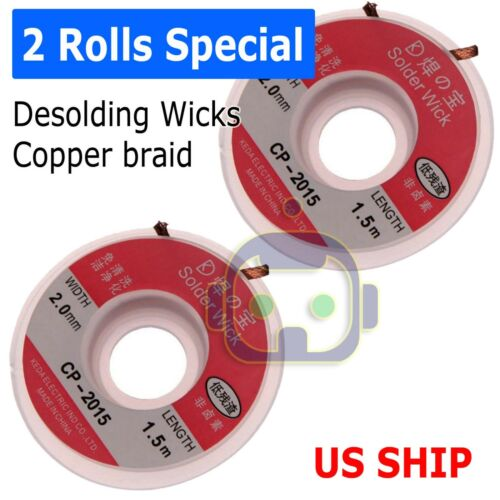 2 Rolls 2mm x 5ft Desoldering Braid Wick Solder Remover w/ No Residue Rosin Flux