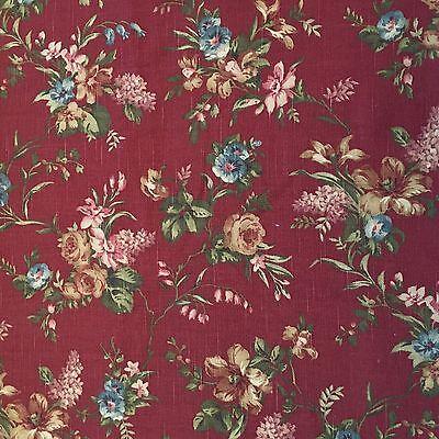 Robert Allen Home Deep Dark Red Floral Home Decor Fabric Dupont Teflon 2  Yards
