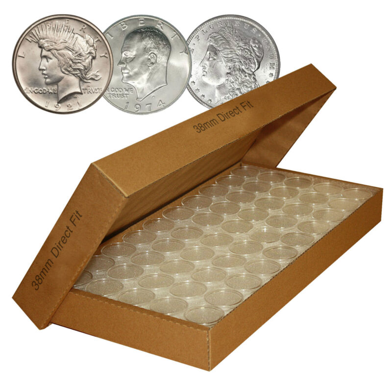 50 Direct-Fit Airtight H38 Coin Capsules Holders For MORGAN / PEACE / IKE DOLLAR