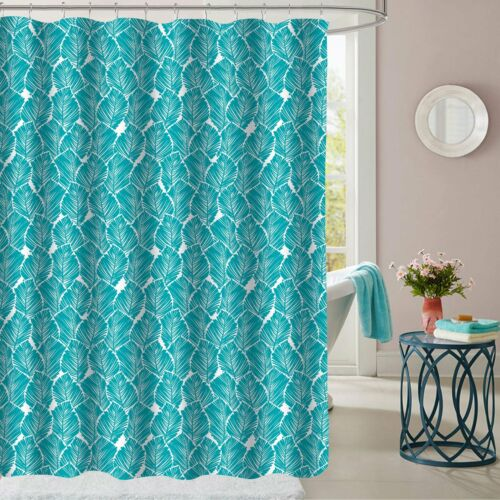 Tropical Leaf Pattern Teal Fabric Bathroom Shower Curtain 70″x72″ Bath