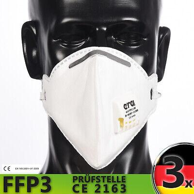 3x ERA FFP3 Maske Atemschutzmaske mit Ventil Wiederverwendbar Waschbar Neuware