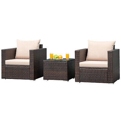 Garden Furniture - 3PCS Patio Rattan Furniture Set Wicker Conversation Sofa Set w/Cushion Garden