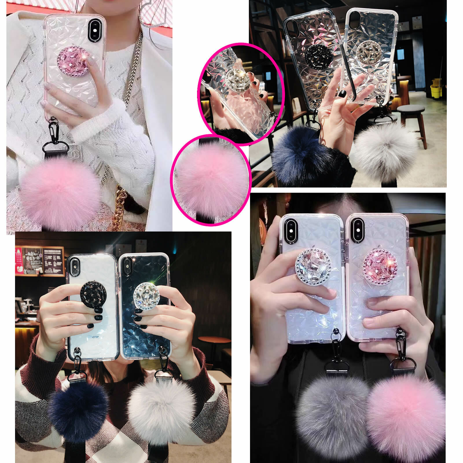 For iphone 11PROMAX XR 7p/8p Bling diamond fur ball Strap so
