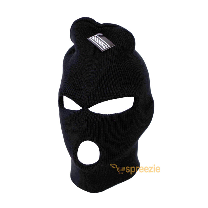 Black Ski Mask Beanie 3 Hole Knitted Cap Hat Warm Face Winter Snow Mens Womens