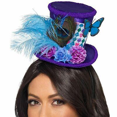 Adult's Mad Hatter Mini Hat Headband Book Purple Blue Costume Accessory Womens - Mad Hatter Mini Hat