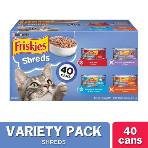Friskies Wet Cat Food Variety Pack, Shreds Beef, Turkey, 5.5 oz.- 40 Pack