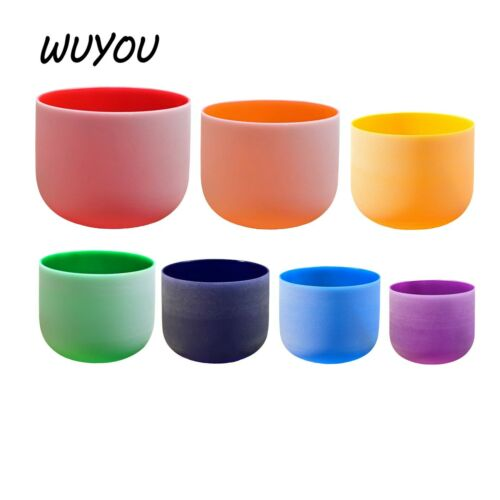 WuYou 6-12 inch color set CRYSTAL SINGING BOWL CHAKRA BOWL CLEAR SOUNDS-DEEP