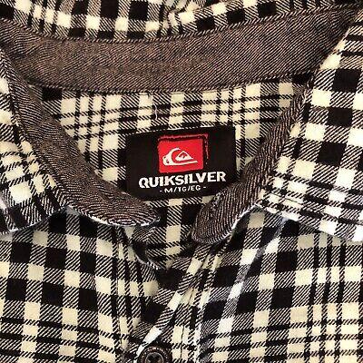 Men's Quiksilver Flannel Button Up Shirt ~size Medium. Black & White Plaid