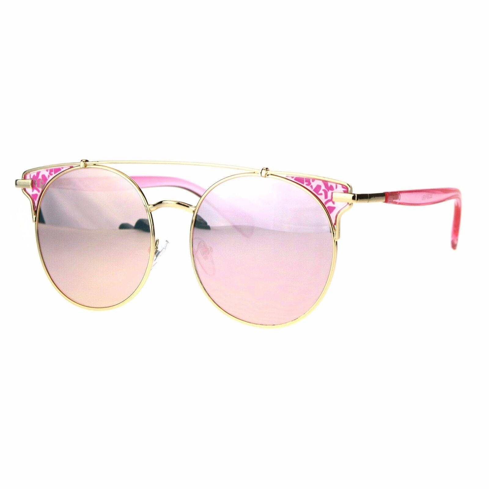 Womens Fashion Sunglasses Flat Top Gold Pink Frame Pink Mirr