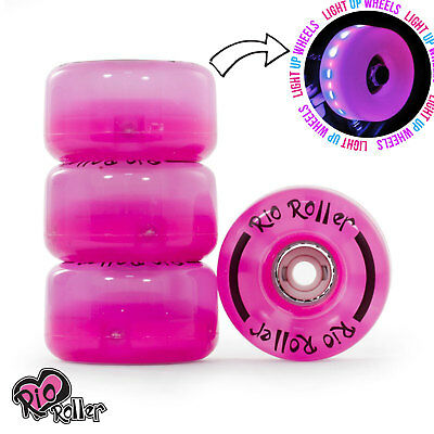 Rio Roller, Light Up Quad Roller Disco Skate Wheels, Pink Frost