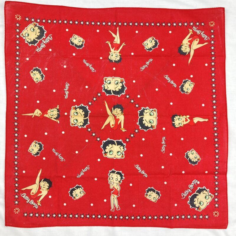 Vintage Betty Boop Red Handkerchief Scarf Bandana Kerchief Hearts Beaded Corners