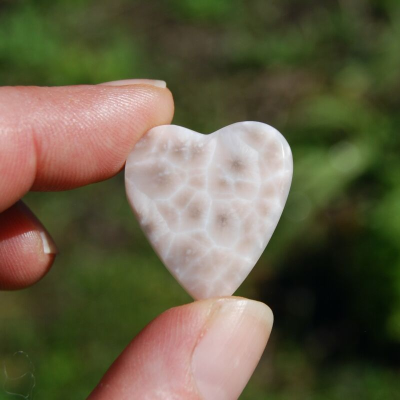 Thomsonite Pink Larimar Cabochon Heart 27mm by 23mm #1