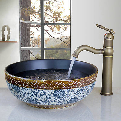 Classical Ceramic Bowl Round Bathroom Vessel Sink Basin Antique Brass Faucet Set, used for sale  Shipping to Canada