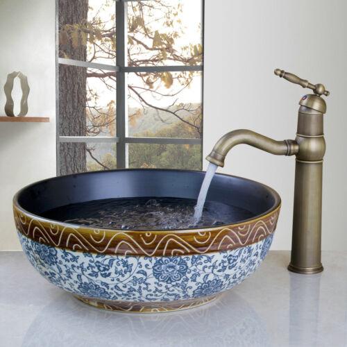 Bathroom Vessel Sink Deck Mount Round Ceramic Basin Bowl Antique Brass Mixer Tap