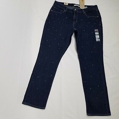 Levis womens classic mid rise skinny jeans size 10 studded front dark -
