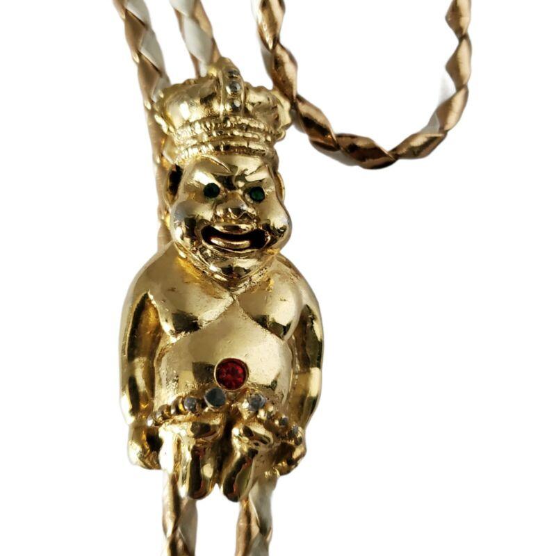 Masonic Shriner Royal Order of Jesters Billikin Bolo Tie Moving Tongue