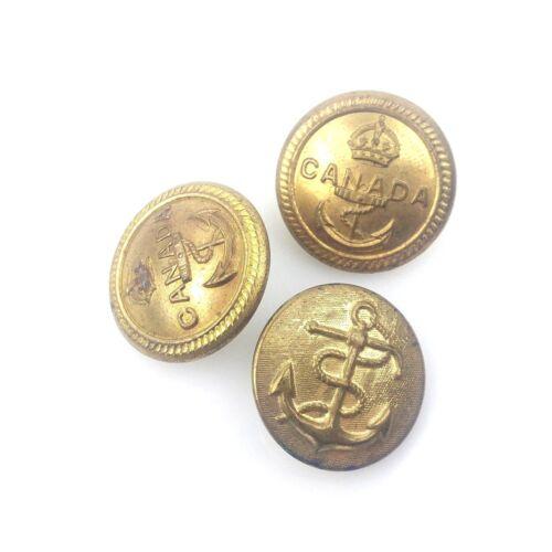"Vtg 2 Canadian WWII Jacket Buttons Brass & 1 Brass Anchor Jacket Button 15/16"""